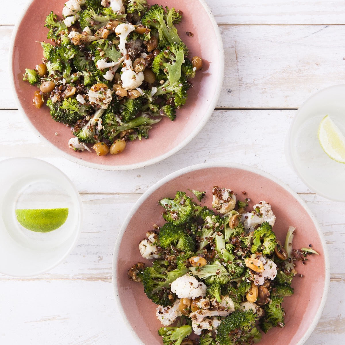 Brocolli Slaw with Sumac, Cauliflower & Quinoa Salad