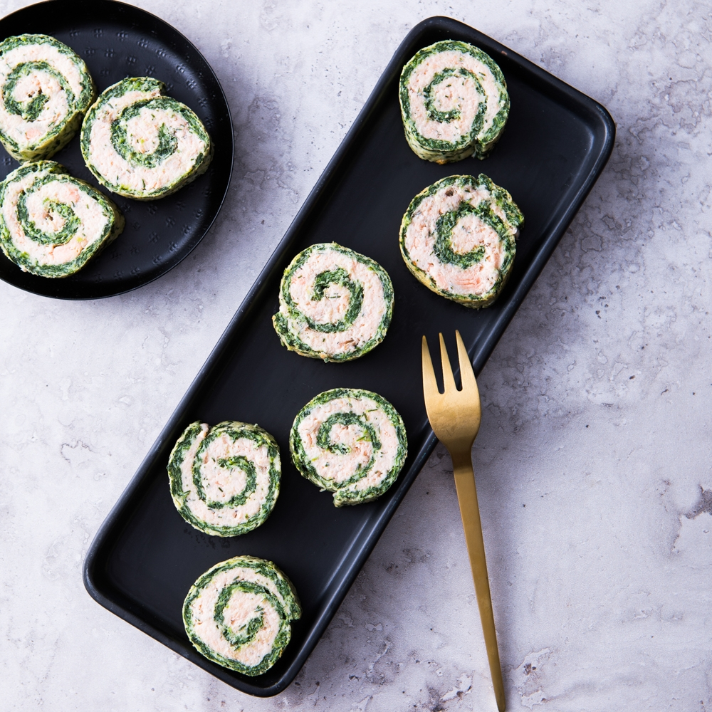 Salmon & Spinach Roulade Canapés