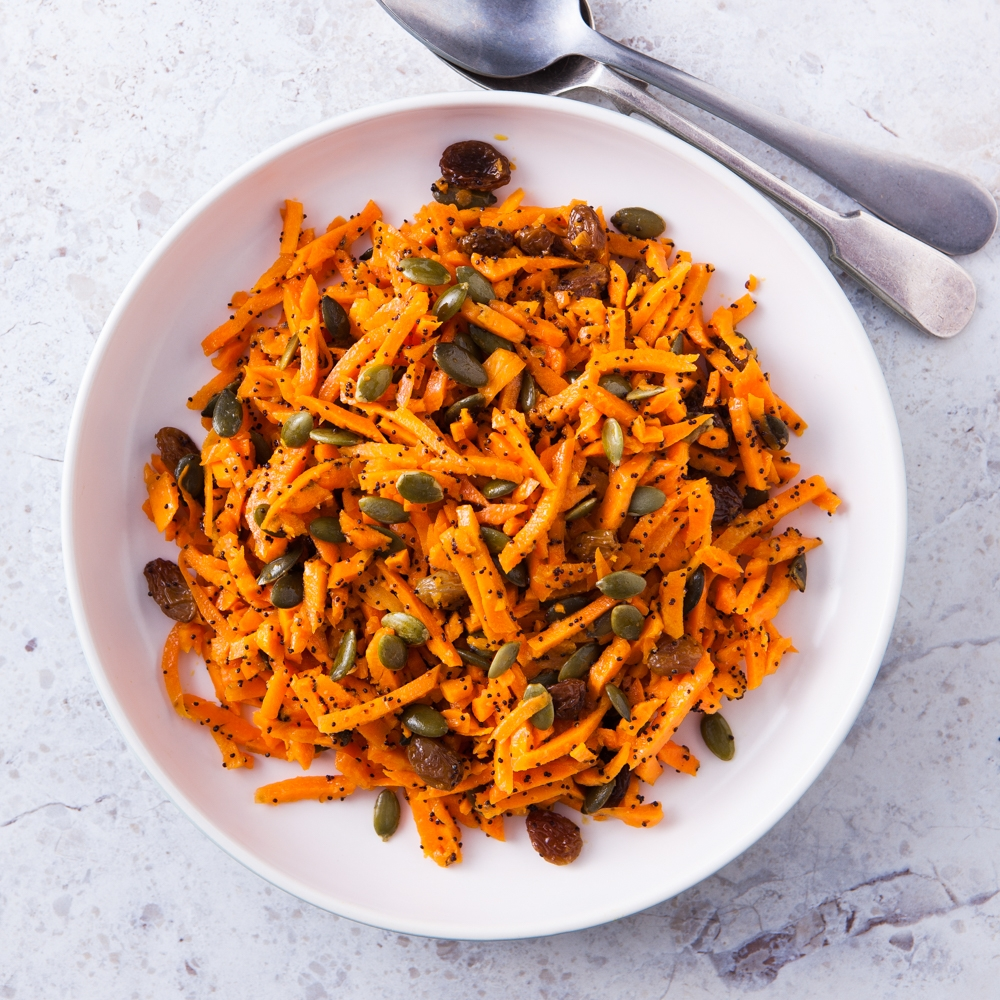 Carrot & Roasted Pumpkin Seeds with French Dressing