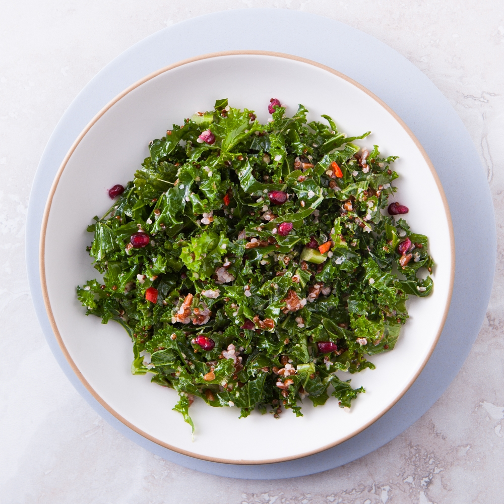 Kale, Red Rice, Red Quinoa & Pomegranate Seeds
